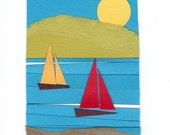 Sunny Day, print, original collage, paper cut, illustration, bay, sailboats, aquatic, bayside, boats - ByTheWaves