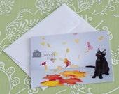 Cute Handmade Cat Halloween Card