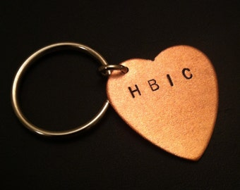 HBIC Keychain--Stamped Heart Keychain, Diva, Boss Bitch, Copper Heart, Head Bitch In Charge, Snob, Copper Key Ring, Womens Keychain