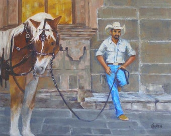 Cowboy, 14x11 Original Oil Painting of Mexican Vaquero and Horse in San Miguel de Allende, Mexico