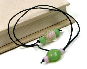Book Thong Beaded Bookmark Pink Flower Soft Green Book Cord Book String Gift under 5  Book Club Teacher Gift