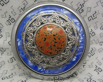 Compact Mirror Blue With Orange Flowers Comes With Protective Pouch