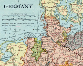 1925 Vintage Map of Germany. With Insets of Hamburg and Berlin - Vintage Germany Map - Old Germany Map