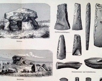 1895 German Antique Engraving of Stone-Age Culture