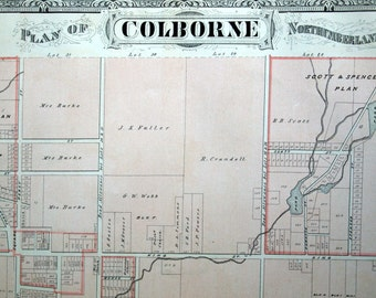 1878 Large Rare Vintage Map of Colborne, Ontario, Canada. WIth Norham and Dartford - Handcolored