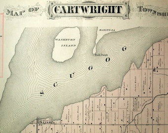 1878 Large Rare Vintage Map of Cartwright Township, Ontario, Canada - Handcolored