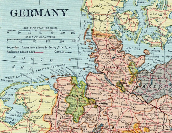1925 Vintage Map Of Germany With Insets Hamburg And Berlin: Old Germany Map At Slyspyder.com