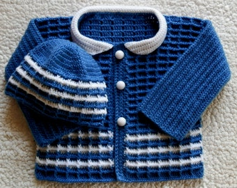 Baby Boy Sweater and Hat Set ~ Newborn 0 to 3mo Change up color for Girls