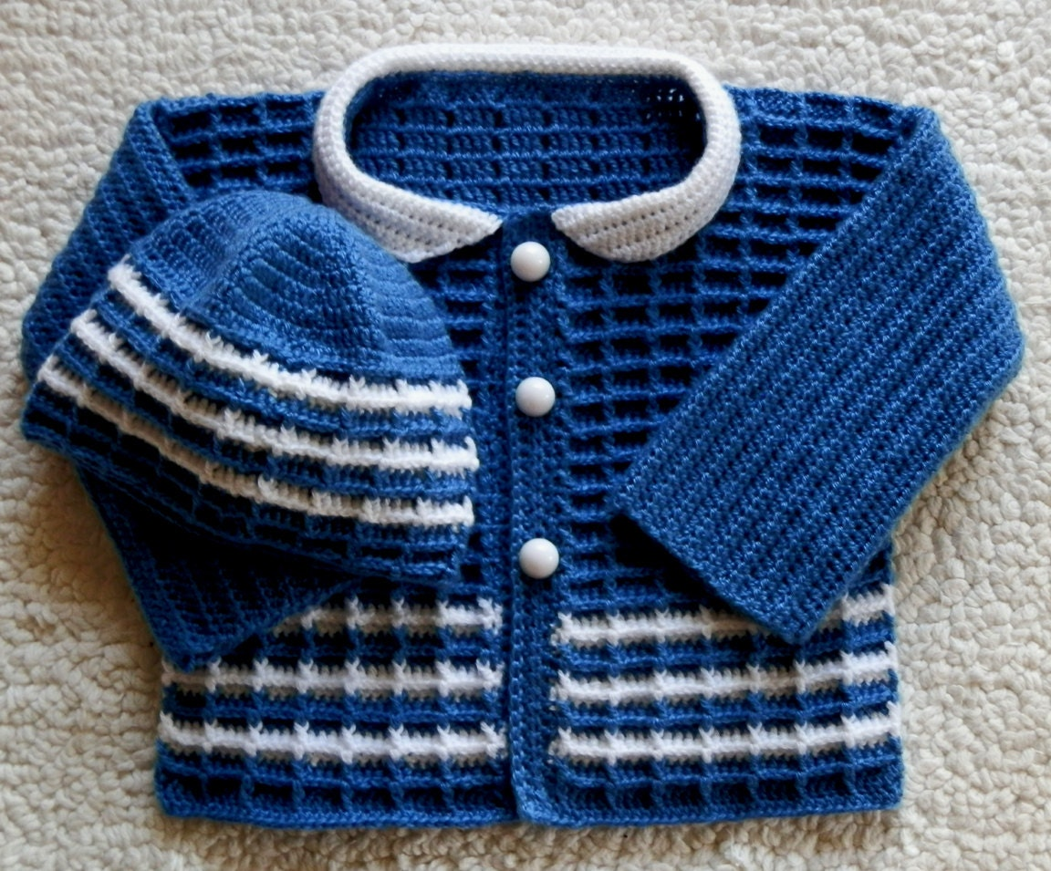 Easy Crochet Baby Boy Hat Patterns : Baby Boy Sweater and Hat Set Newborn 0 to 3mo by ...