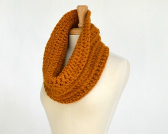 Cozy Warm Cowl, Butterscotch Crocheted Scarf, Men's Scarf, Women's Neckwarmer