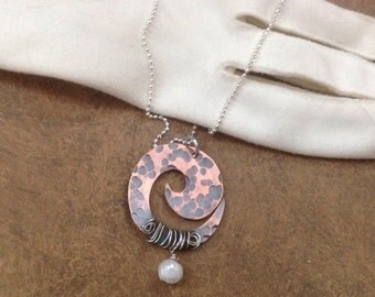 Antiqued copper swirl necklace with sterling silver chain and fresh water pearl