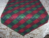"Christmas Table Runner, Christmas Plaid, Red and Green Runner, Small Table Runner, 36"" Table Runner, Fabric Table Runner, Cloth Table Runner"