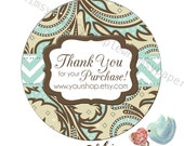 Paisley Stickers - Round Glossy Labels - Choice of sizes