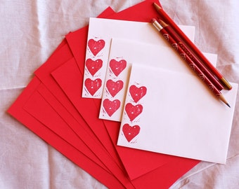 red heart stationery letterset - fancy pants block printed envelopes with coordinating solid red paper - pretty sweet for your  Valentine