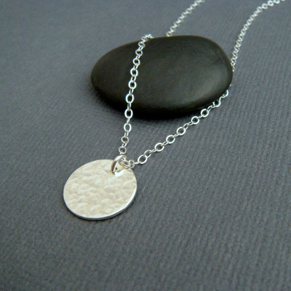 """hammered circle necklace. simple silver necklace. small sterling circle charm. simple pendant. modern everyday jewelry. 1/2"""" circle"""