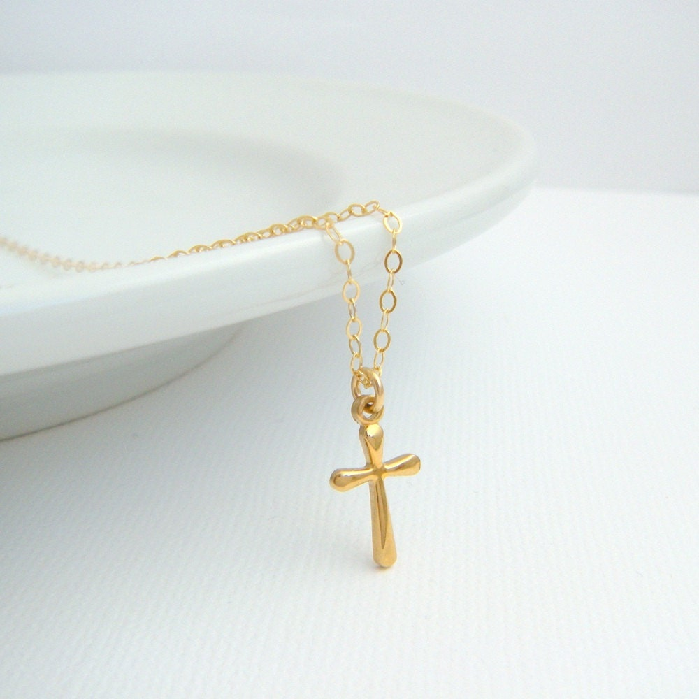Tiny Gold Cross Necklace Small Rounded Cross 14k Gold Filled