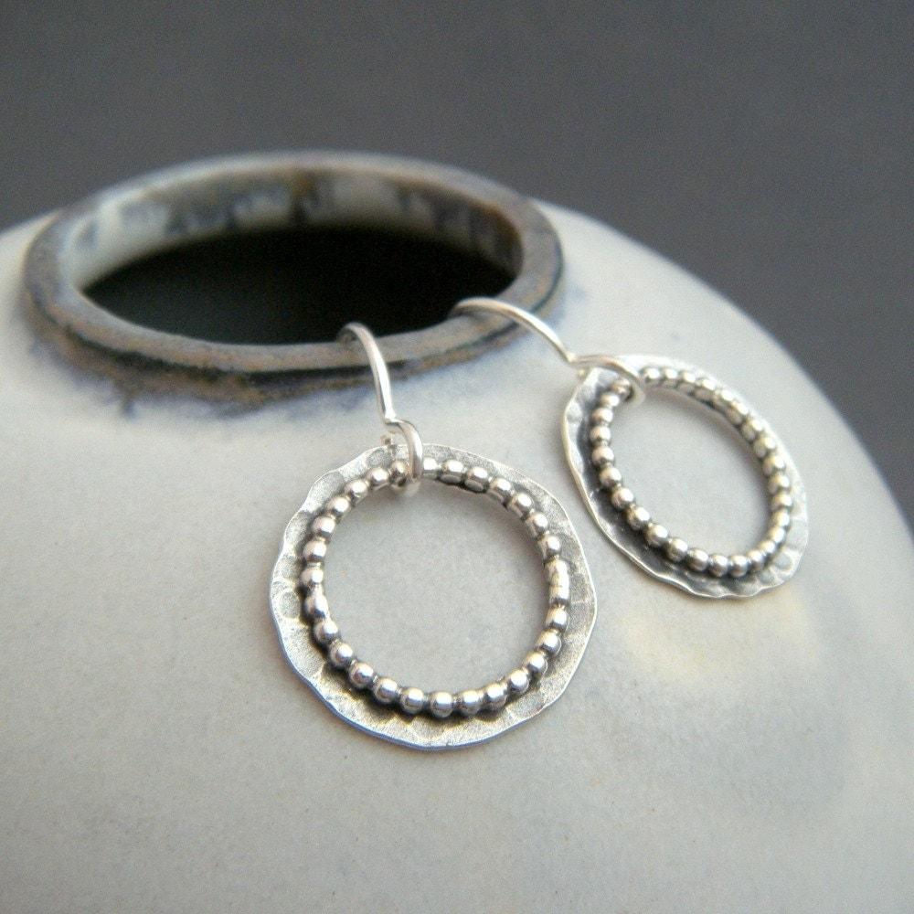 small rustic silver hoop earrings sterling boho beaded drop. Black Bedroom Furniture Sets. Home Design Ideas
