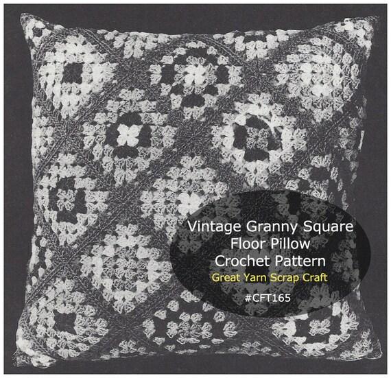 Large Floor Pillow Pattern : Vintage Floor Pillow Crochet Granny Squares Large Pillow