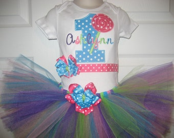 Baby Girl Lollipop Birthday tutu set, Candyland tutu set, Circus tutu set, lollipop outfit, First Birthday, cake smash