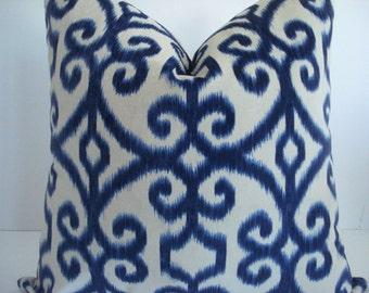 IKAT-Navy and Creamy Ivory --12x16 lLumbar- -Decorative Designer Pillows, Indigo Toss Pillow