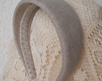 Wide Hairband Natural Linen