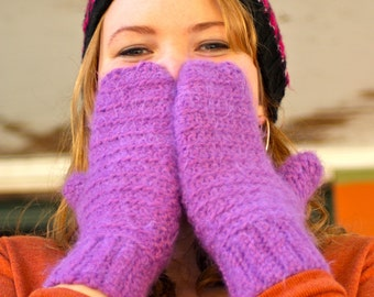 Sale! Purple Crochet Handmade Mittens