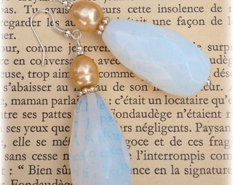 Large Opalite Briolette and Pearl Earrings