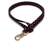 Navy and Orange Dots Fabric Lanyard ID badge holder - Great Gift for Office Workers, Nurses, Teachers, Students and more
