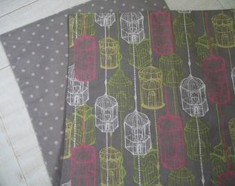 Cloth Napkin Set of 4 Mod Birds Gray Dotty Napkins  Pink & Gray