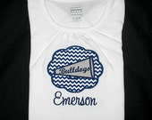 Custom Personalized Applique Chevron Cheer MEGAPHONE Patch and NAME Shirt or Bodysuit - Navy Blue and Silver Gray - Or Choose Your Colors