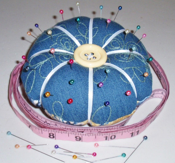 Pincushion, Reversible Pincushion in assorted Designer Fabrics, Handmade - Sewing Notions - Sewing Accessory - Needle Craft - French Country