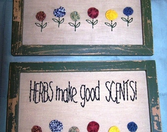Vintage Framed Garden Samplers - Set of 2 - ReDuCeD