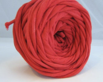 T shirt Yarn Hand Dyed- True Red 30 Yard THICK 3-4 wpi