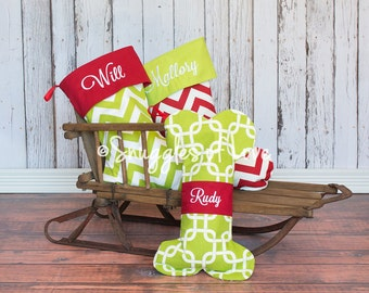 PERSONALIZED CHRISTMAS STOCKING - Personalized Christmas Stockings - Embroidered Stockings - Choose Your Fabric - Dog & Cat Stockings Too