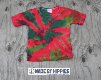 Red and Green Spiral Tie Dye T-Shirt (iDesign Size 3T) (One of a Kind)