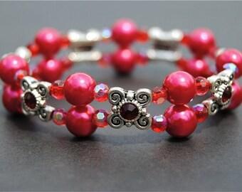 Red Glass Pearl Stretch Bracelet
