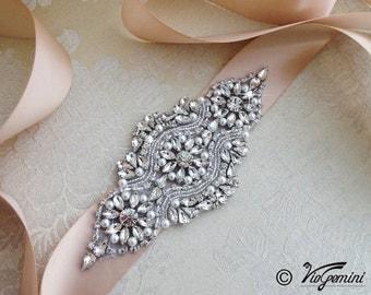 Rose Gold Bridal Sash, Blush Wedding Sash Belt, Bridal Sash Belt, Rose Gold Rhinestone Sash
