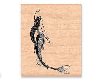MERMAID RUBBER STAMP~Ocean Sea Decor~Nautical Theme~Beach Stamp~Vintage~Sailing~Lighthouse~Wood mounted stamp(34-39sm) (39-13lg )