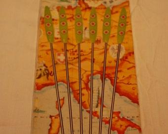 Vintage  Orange and Green Melamine Fondue Forks Set of six Original box