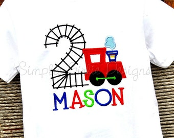 Custom train birthday shirt. Sizes 12m, 2t, 3t, 4t or 5. Other sizes, colors and fabrics available.