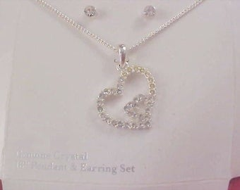 Free Ship~Genuine Crystal Silver Plate Heart Pendant & Chain - Post Earring Set