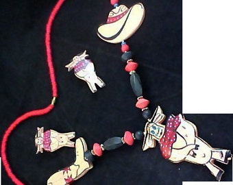 Hand Carved-Hand Painted Demi ~ Necklace & Post Earrings