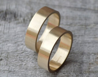Flat Wedding Ring Wedding Band In 9k Yellow Gold With Personalized Message Inside, 5mm Wide