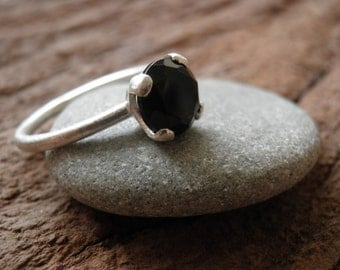 Genuine onyx Ring, Engagement Ring, Solitaire ring, Vintage Inspired Classic Silver Ring, Black ring