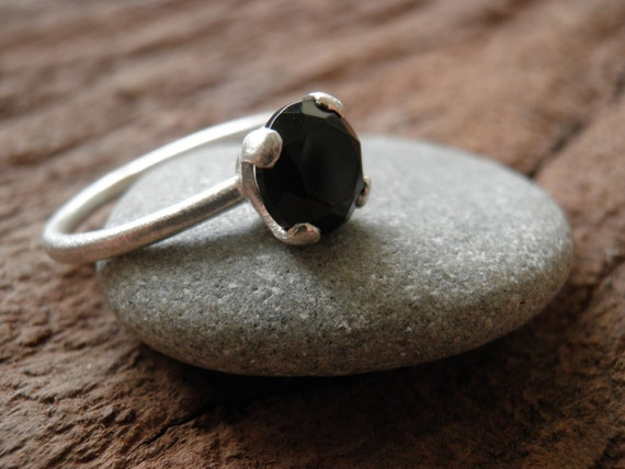 Genuine onyx Ring Engagement Ring Solitaire ring Vintage