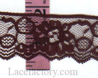 1.5 inch Burgundy (or Forest Green) lace trim 25 yds  (D619)