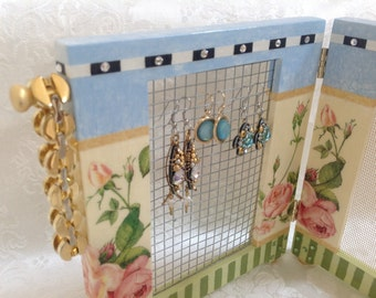 Hand Painted Earring Holder, Standing Hinged Mini Size