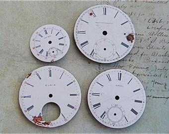 Vintage Antique porcelain pocket Watch Faces - Steampunk - Scrapbooking j64