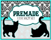 Premade Etsy Shop Set - Cat Silhouettes - 10 Pieces - Banner avatar and More