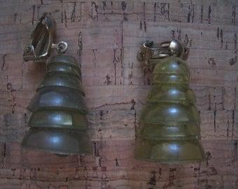 40s 50s LUCITE BELLS Earrings 1950s